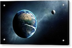 Earth And Moon Space View Acrylic Print by Johan Swanepoel