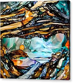 Earth Day Underground Paradise Alcohol Inks Acrylic Print