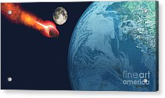 Earth Hit By Asteroid Acrylic Print by Corey Ford