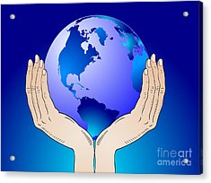 Earth In The Your Hands Acrylic Print by Michal Boubin