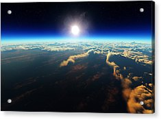 Earth Sunrise From Outer Space Acrylic Print by Johan Swanepoel