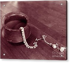 Acrylic Print featuring the photograph Earthen Pot And Silver by Mukta Gupta