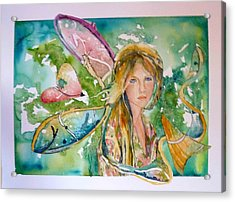 Acrylic Print featuring the painting Earthly Butterfly by P Maure Bausch