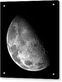 Earth's Moon In Black And White Acrylic Print by Jennifer Rondinelli Reilly - Fine Art Photography