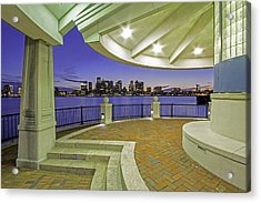 Acrylic Print featuring the photograph East Boston Piers Park View Of Boston by Juergen Roth