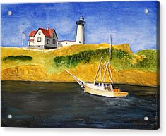 East Coast Lighthouse With Crab Boat Acrylic Print by Robert Thomaston