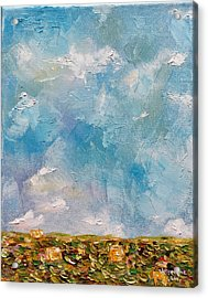 Acrylic Print featuring the painting East Field Seedlings by Judith Rhue