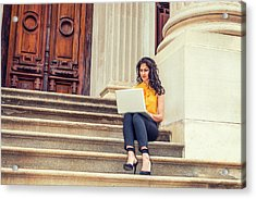 East Indian American College Student Studying In New York Acrylic Print