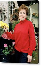 East London Flower Shop Owner Acrylic Print by Brian Benson