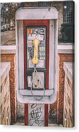 East Side Pay Phone Acrylic Print by Scott Norris