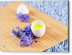 Easter Decoration With Spring Flowers And Egg Shell Acrylic Print by Dariya Angelova