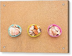 Easter Egg Baskets On Beach Acrylic Print