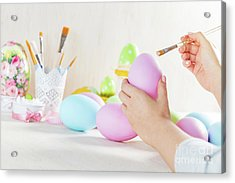 Easter Egg Painting In A Workshop Acrylic Print