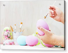 Easter Egg Painting In An Atelier. Acrylic Print