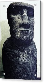 Acrylic Print featuring the painting Easter Island Stone Statue by Eric  Schiabor