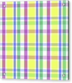 Acrylic Print featuring the digital art Easter Pastel Plaid Striped Pattern by Shelley Neff