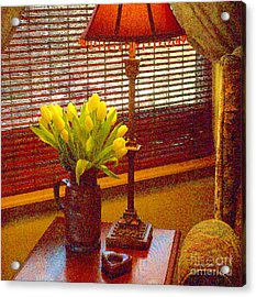 Easter Tulips Still Life - Paintograph Acrylic Print by Christine S Zipps