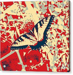 Eastern Tiger Swallowtail Butterfly - Red Abstract Acrylic Print by Scott D Van Osdol