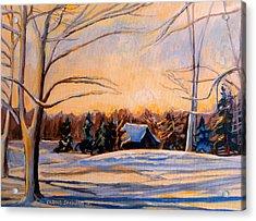 Eastern Townships In Winter Acrylic Print by Carole Spandau