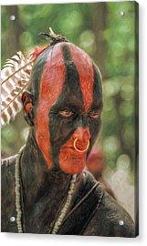 Eastern Woodland Indian Portrait Acrylic Print by Randy Steele