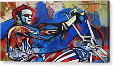 Acrylic Print featuring the painting Easy Rider Captain America by Eric Dee