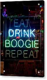 Eat Drink Boogie Repeat Beale Street Memphis Tennessee Acrylic Print by Wayne Higgs