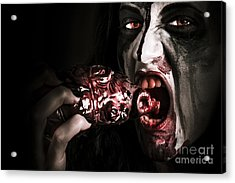 Eat Your Heart Out. Zombie Eating Bloody Heart Acrylic Print