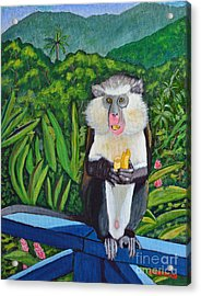 Acrylic Print featuring the painting Eating A Banana by Laura Forde