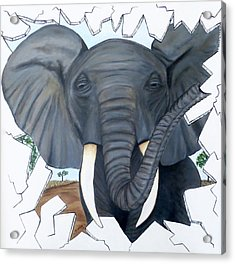 Acrylic Print featuring the painting Eavesdropping Elephant by Teresa Wing