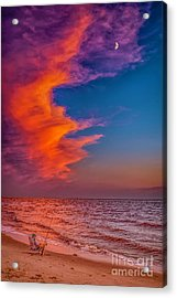 Acrylic Print featuring the photograph Evening Fishing On The Beach by Nick Zelinsky