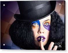 Eccentric Mad Fashion Hatter In Colourful Makeup Acrylic Print by Jorgo Photography - Wall Art Gallery