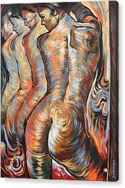 Echo Of A Nude Gesture Acrylic Print by Darwin Leon