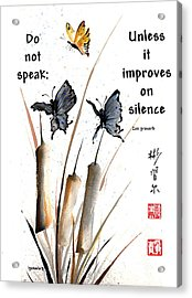 Echo Of Silence With Zen Proverb Acrylic Print
