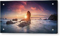 Acrylic Print featuring the photograph Ecola State Park Beach Sunset Pano by William Lee