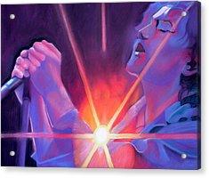 Eddie Vedder And Lights Acrylic Print by Joshua Morton