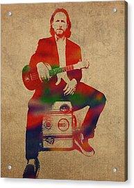 Eddie Vedder Pearl Jam Watercolor Portrait Acrylic Print