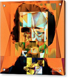 Acrylic Print featuring the photograph Edgar Allan Poe In Abstract Cubism 20170325 Square by Wingsdomain Art and Photography