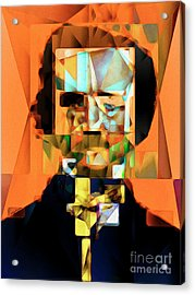 Edgar Allan Poe In Abstract Cubism 20170325 Acrylic Print by Wingsdomain Art and Photography