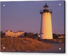 Edgartown Lighthouse And Mansion Acrylic Print by John Burk