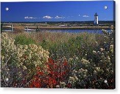 Edgartown Lighthouse Autumn Flowers Acrylic Print by John Burk