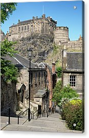 Acrylic Print featuring the photograph Edinburgh Castle From The Vennel by Jeremy Lavender Photography