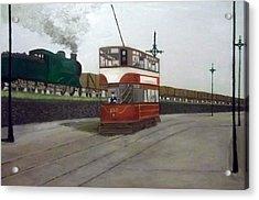 Edinburgh Tram With Goods Train Acrylic Print