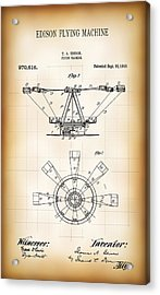 Edison Flying Machine Patent  1910 Acrylic Print by Daniel Hagerman