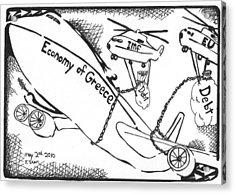 Editorial Maze Cartoon - Economy Of Greece By Yonatan Frimer Acrylic Print by Yonatan Frimer Maze Artist