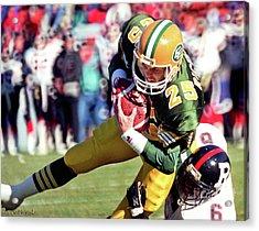 Acrylic Print featuring the photograph Edmonton Eskimos Football - Tom Richards 1 - 1989 by Terry Elniski