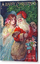 Edwardian Christmas Card Of Father Christmas With An Angel Acrylic Print