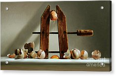 Egg And Shells With Wood Clamp Acrylic Print by Larry Preston
