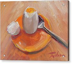 Egg And Spoon Acrylic Print by Ron Wilson