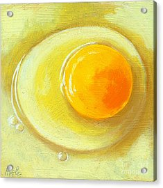 Egg On A Plate - Realism Painting Acrylic Print by Linda Apple