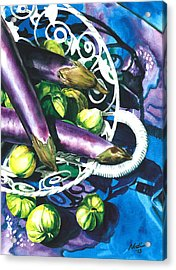 Eggplants Acrylic Print by Nadi Spencer